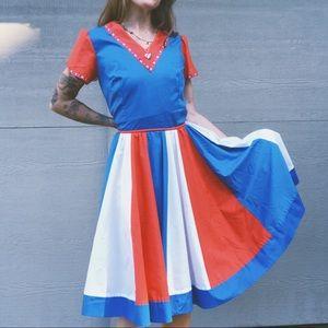 Vintage 70's Red White & Blue Prairie Dress
